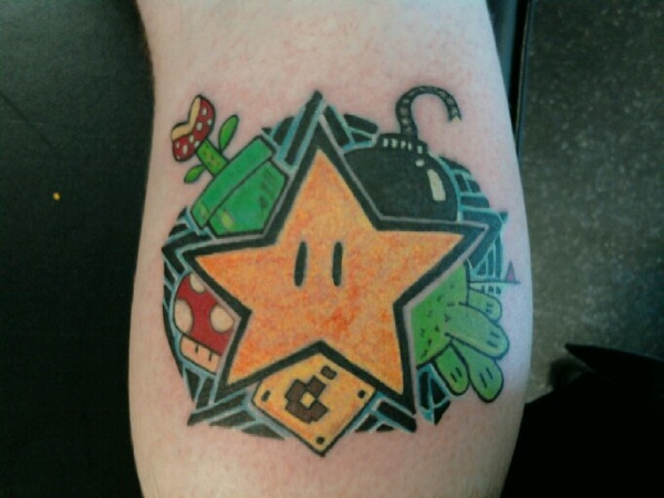 Supermario Geek Tattoo On Bicep