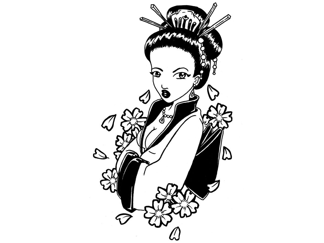 Attractive Japanese Geisha Tattoo Design
