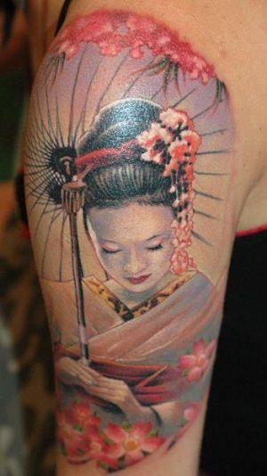 Beautiful geisha tattoo on half sleeve for Beautiful half sleeve tattoos
