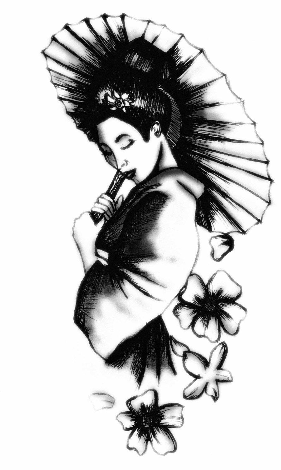 Chinese symbol and geisha tattoo black ink chinese geisha tattoo biocorpaavc Choice Image