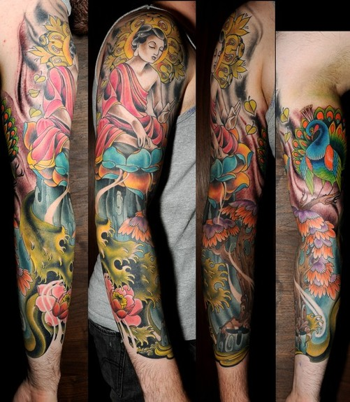 55 New Style Buddha Tattoo On Full Sleeve: Scenery Tattoo Images & Designs