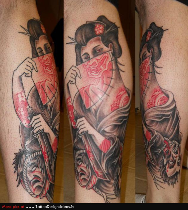 geisha tattoo images designs. Black Bedroom Furniture Sets. Home Design Ideas