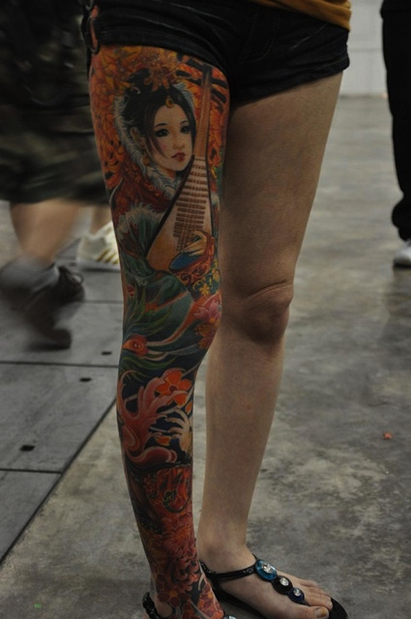 Geisha tattoo images designs for Thigh sleeve tattoo
