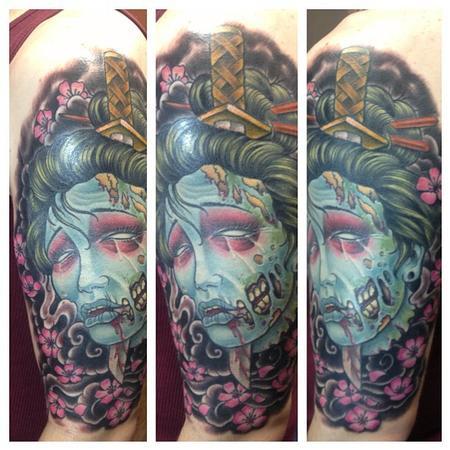 colored zombie geisha tattoo on left sleeve. Black Bedroom Furniture Sets. Home Design Ideas