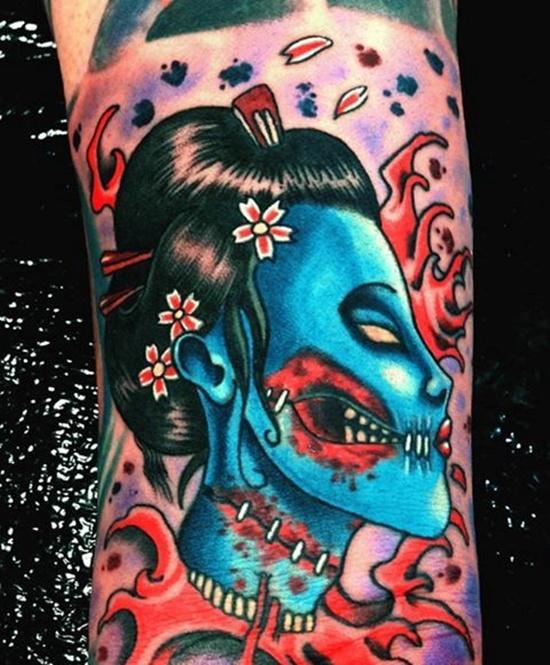 colored zombie geisha tattoo on sleeve. Black Bedroom Furniture Sets. Home Design Ideas