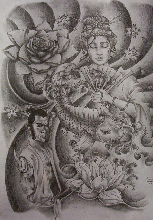 Dreadful Grey Ink Geisha Tattoo Design