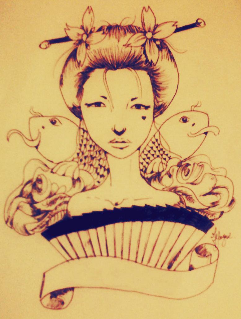 Extreme Koi Fish And Geisha Tattoo Design