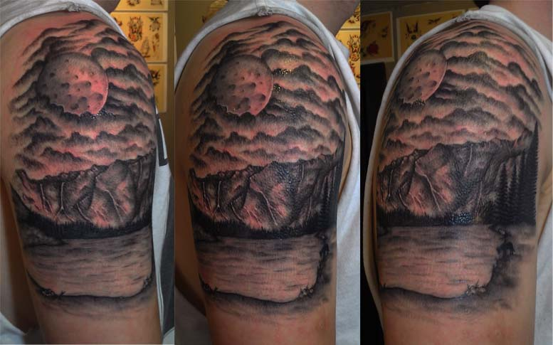 Scenery tattoo images designs for Full sleeve tattoo clouds