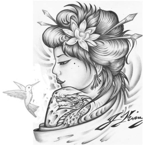 Japanese Color Flowers And Geisha Tattoo Design