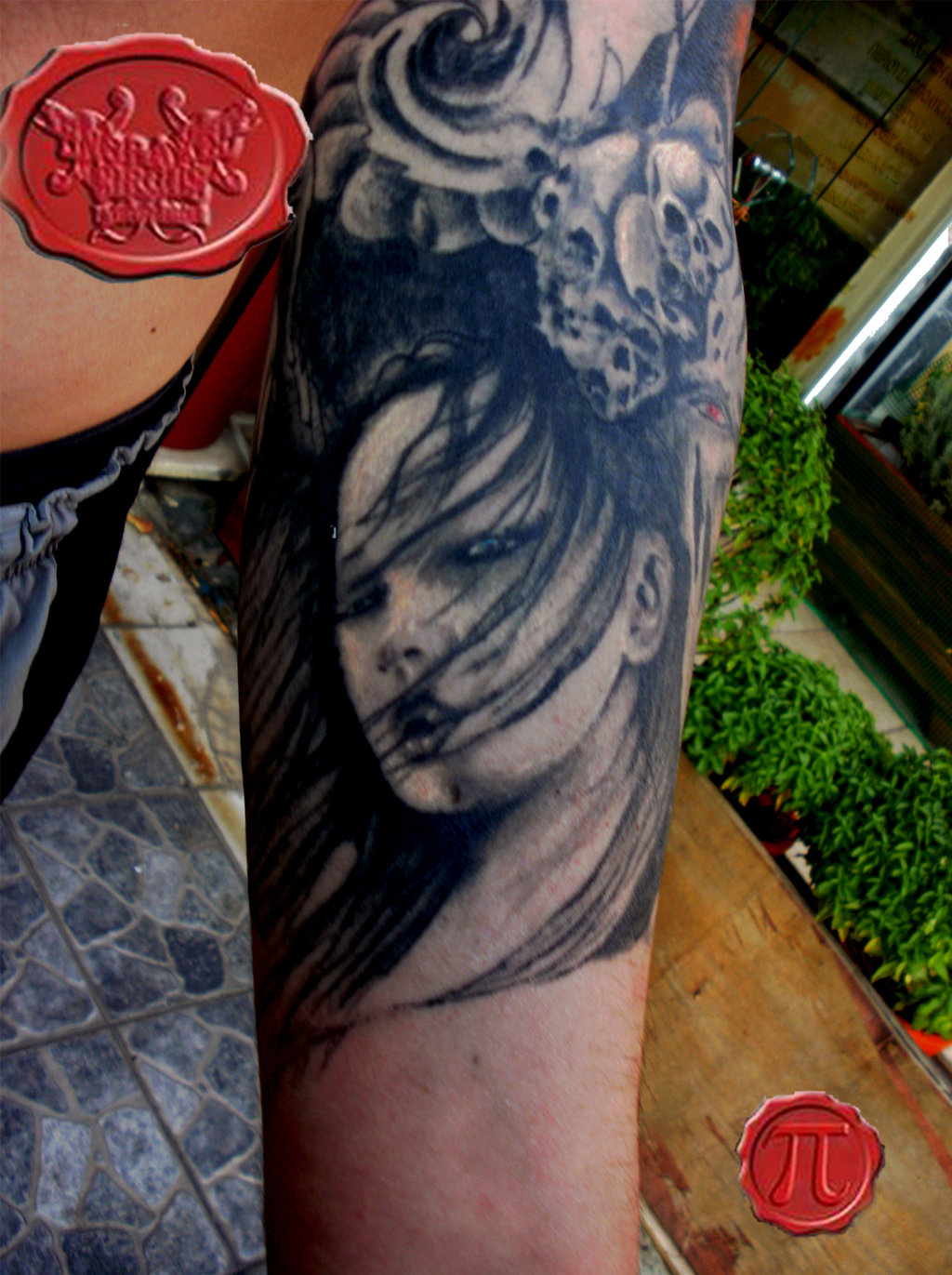 Grey Ink Geisha Tattoo On Left Arm