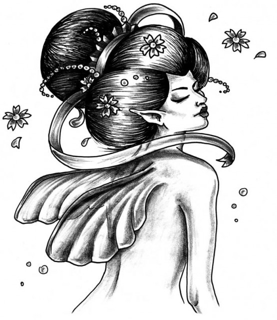 Japanese Geisha Girl Tattoo Design