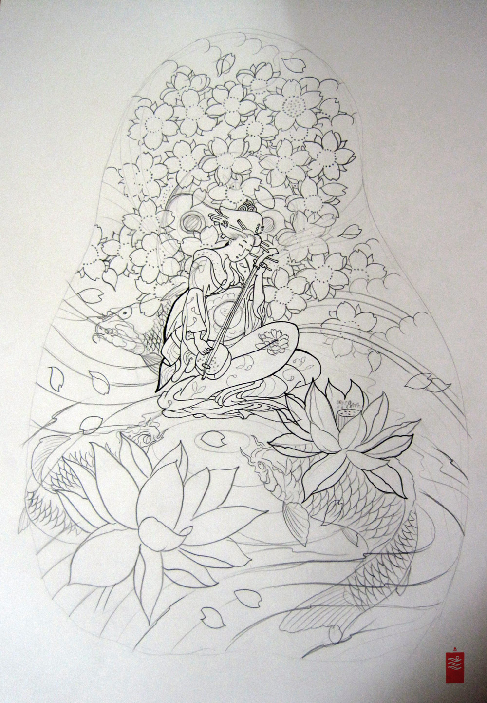 Lotus Flower And Geisha Tattoos Design