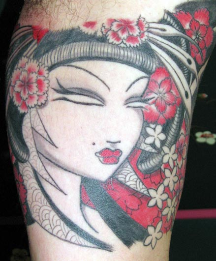 Red Flowers And Geisha Girl Head Tattoo On Bicep