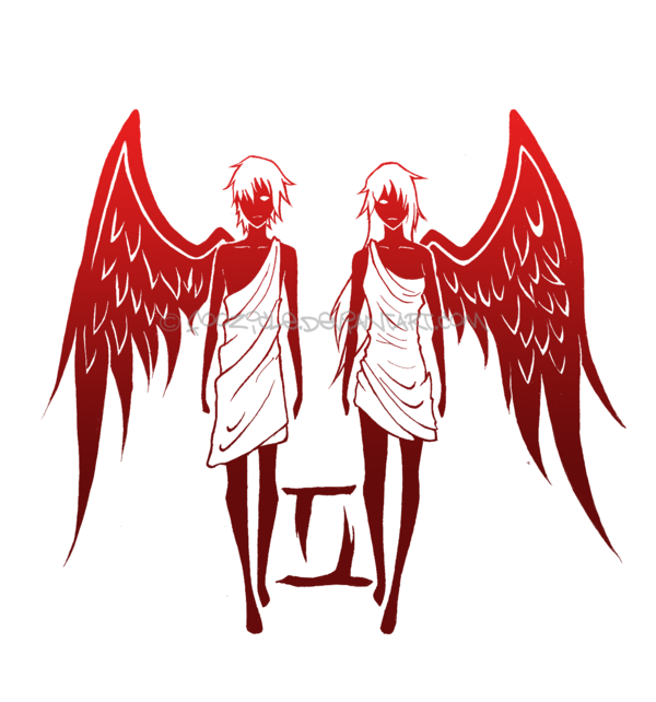 Angel Gemini Tattoo Design