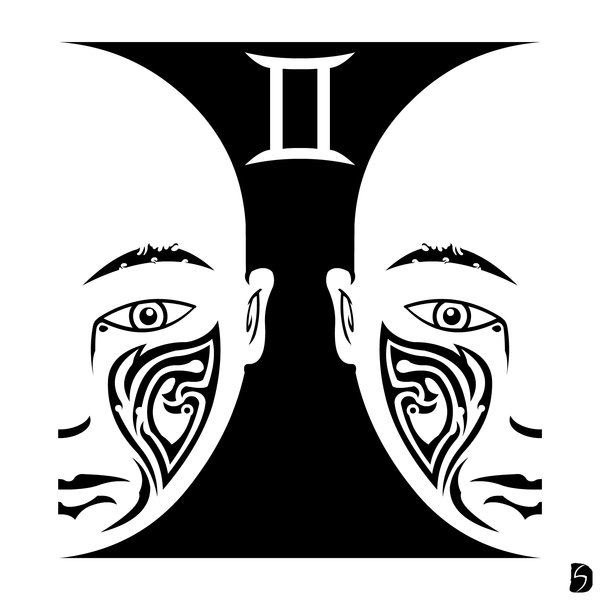 7aa58f7f26471 Awesome Tribal Zodiac Gemini Tattoo Design