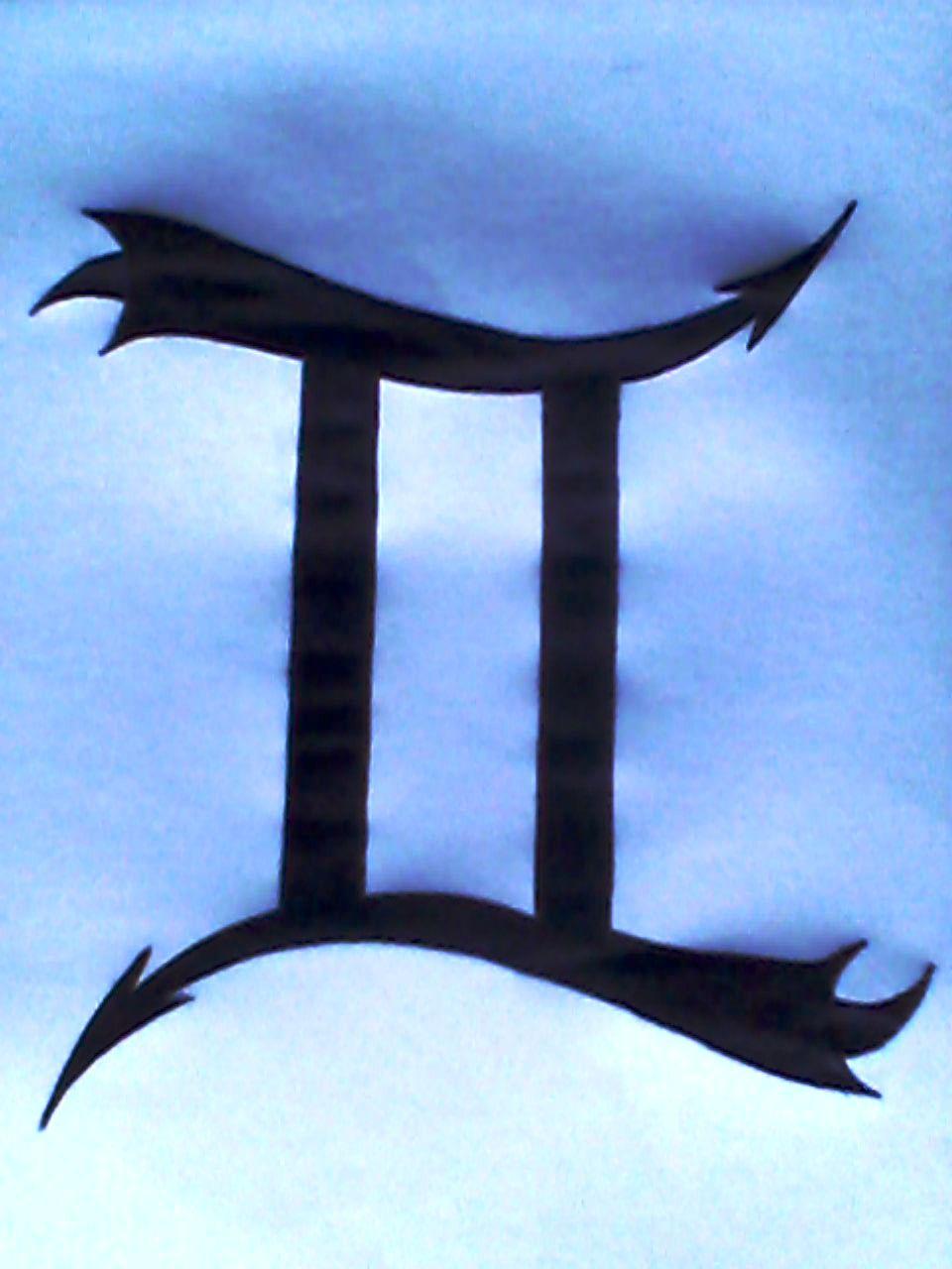Black Ink Gemini Zodiac Sign Tattoo Design