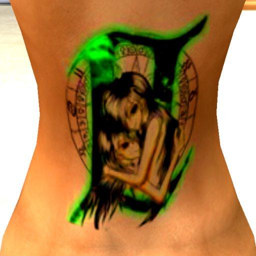 995ea841a Colored Ink Gemini Tattoo Design For Girls