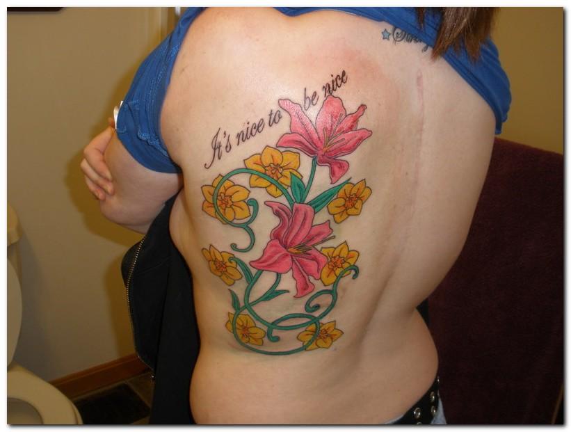 44246f111 Colored Ink Gemini Tattoo On Back Body