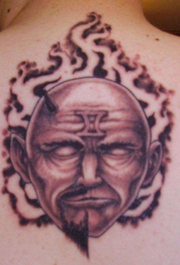 a353f6302 Grey Ink Gemini Tattoo On Back Body
