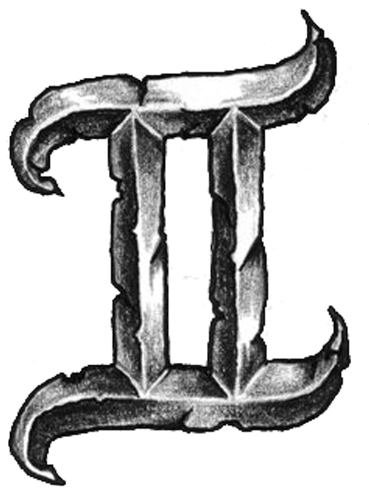 Grey Ink Gemini Zodiac Tattoo