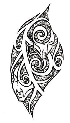 Grey ink tribal gemini tattoo design for Gemini tribal tattoo