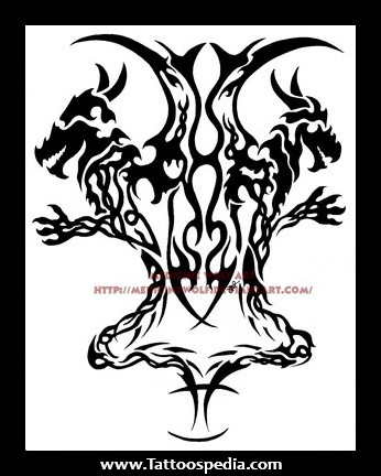 4e40a2f97fb58 Simple Black Ink Tribal Gemini Tattoo Design