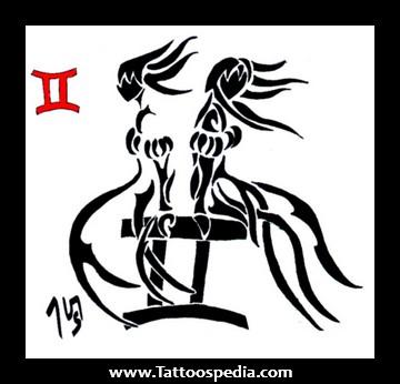 738ec519a Black Ink Tribal Gemini Zodiac Sign Tattoo Design