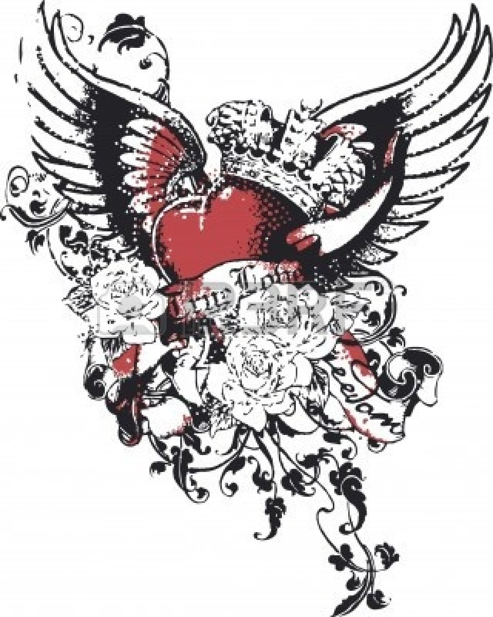 Gothic Heart Tattoos Attractive winged gothic heart