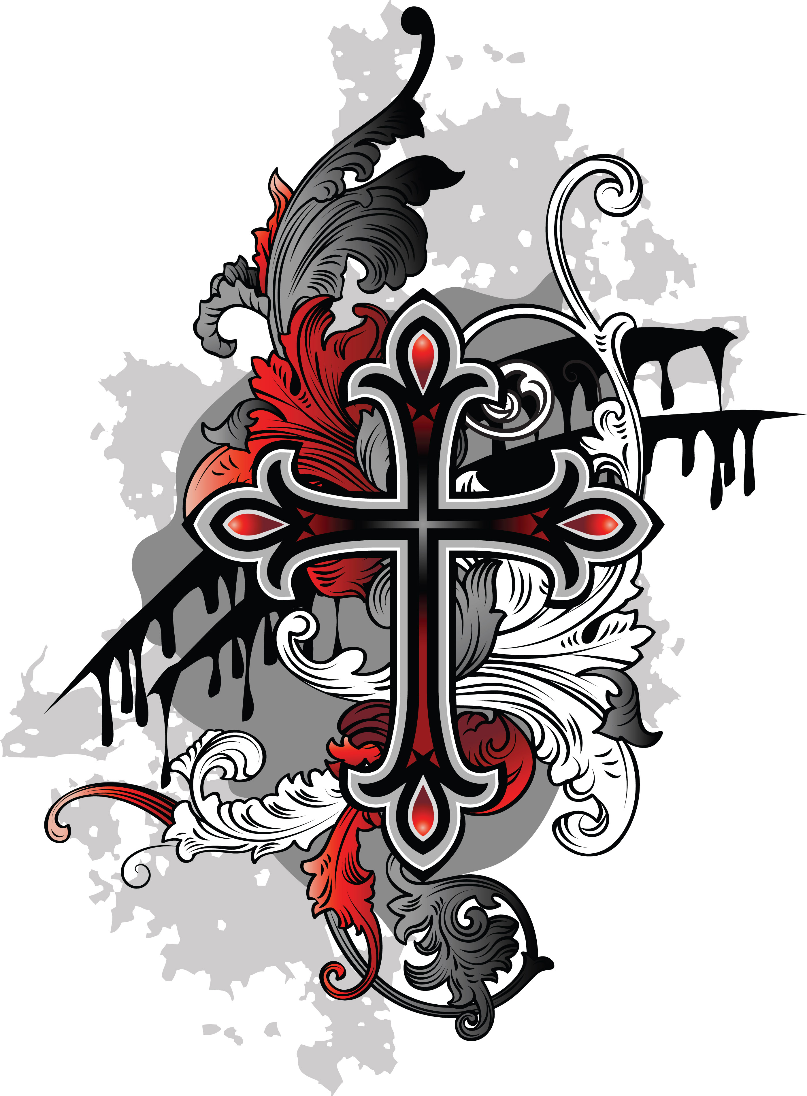 Awesome Grey Ink Gothic Cross Tattoo Design