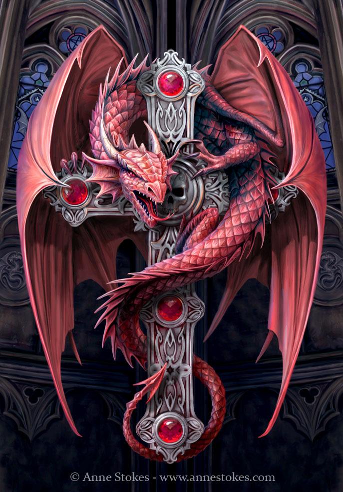 color dragon gothic cross tattoo design. Black Bedroom Furniture Sets. Home Design Ideas