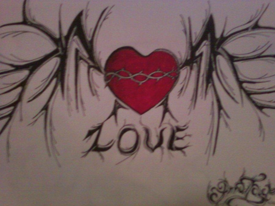 Gothic Heart Love Tattoo Design