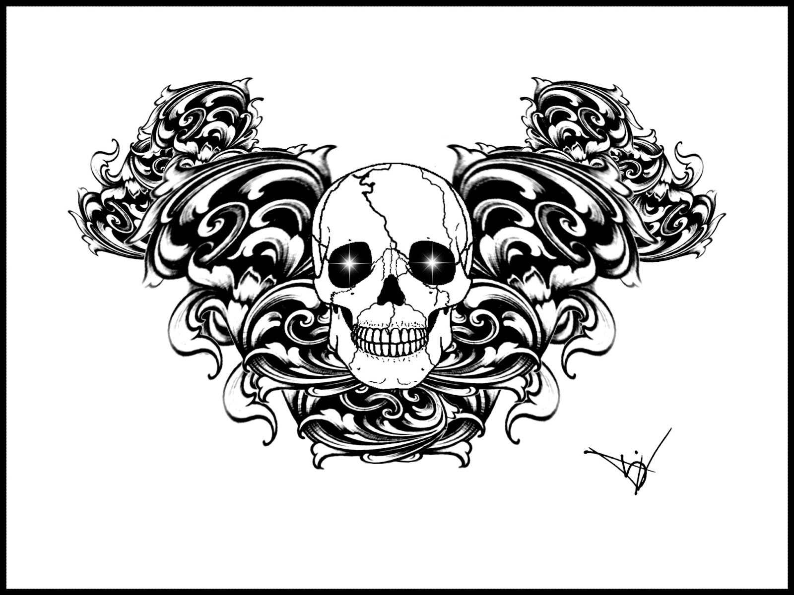 Gothic Heart Tattoos Gothic skull tattoo design