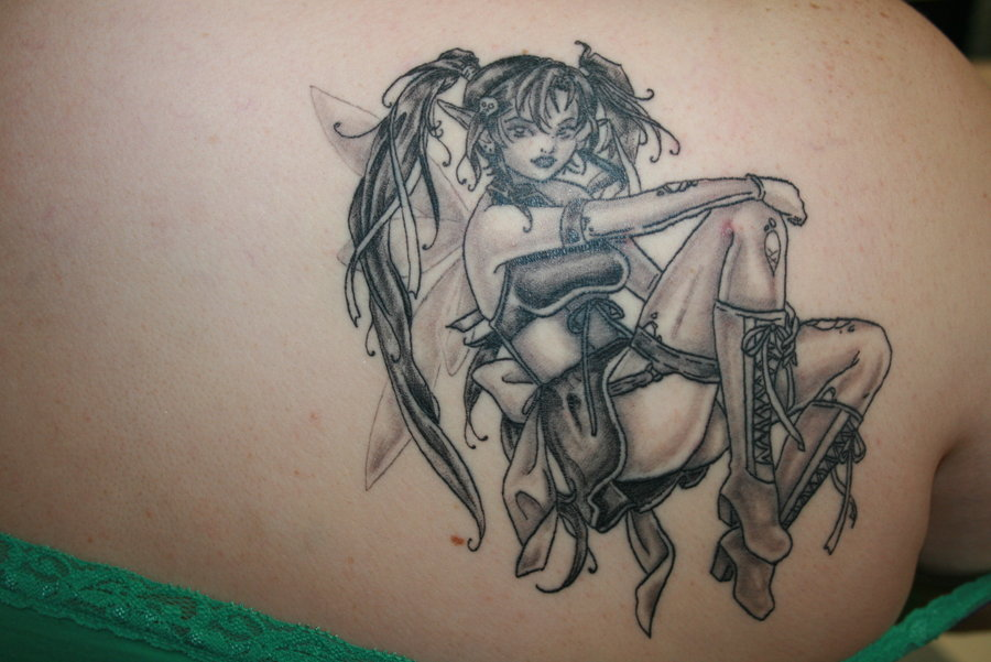 grey ink gothic girl tattoo on back shoulder. Black Bedroom Furniture Sets. Home Design Ideas