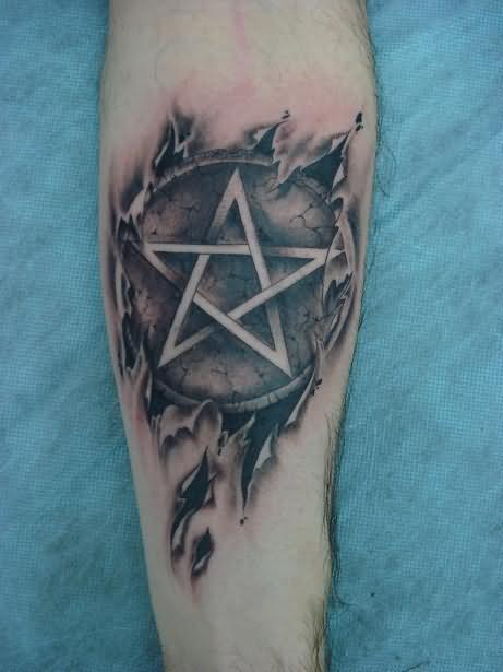 Grey Ink Gothic Pentagram Tattoo On Sleeve