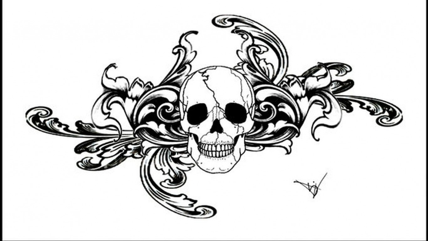 Gothic skull tattoo designs