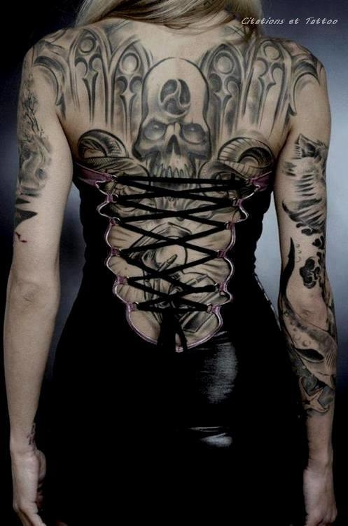 14314202f7d6d Grey Ink Gothic Tattoo On Girl Back Body