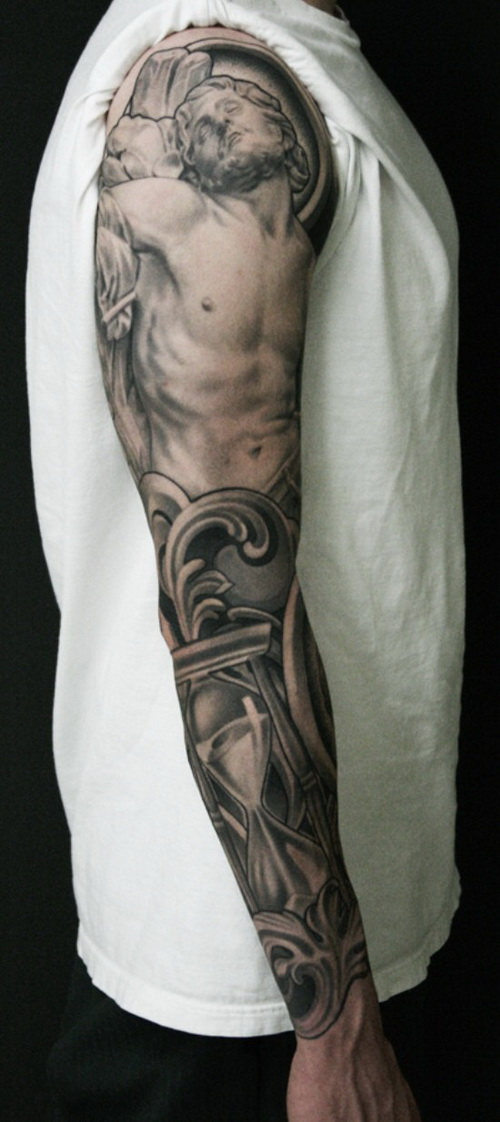 grey ink gothic tattoo on man right sleeve. Black Bedroom Furniture Sets. Home Design Ideas