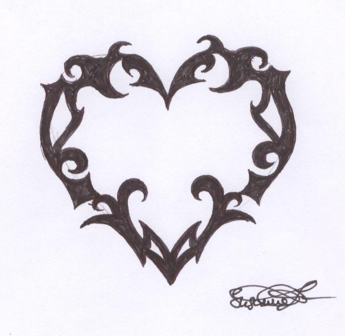 grey ink tribal gothic heart tattoo design. Black Bedroom Furniture Sets. Home Design Ideas