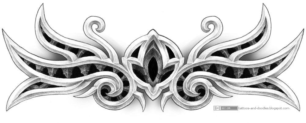 Grey Ink Tribal Gothic Tattoo Design