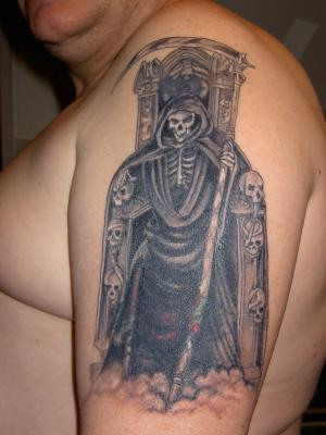 Man Left Half Sleeve Gothic Tattoo