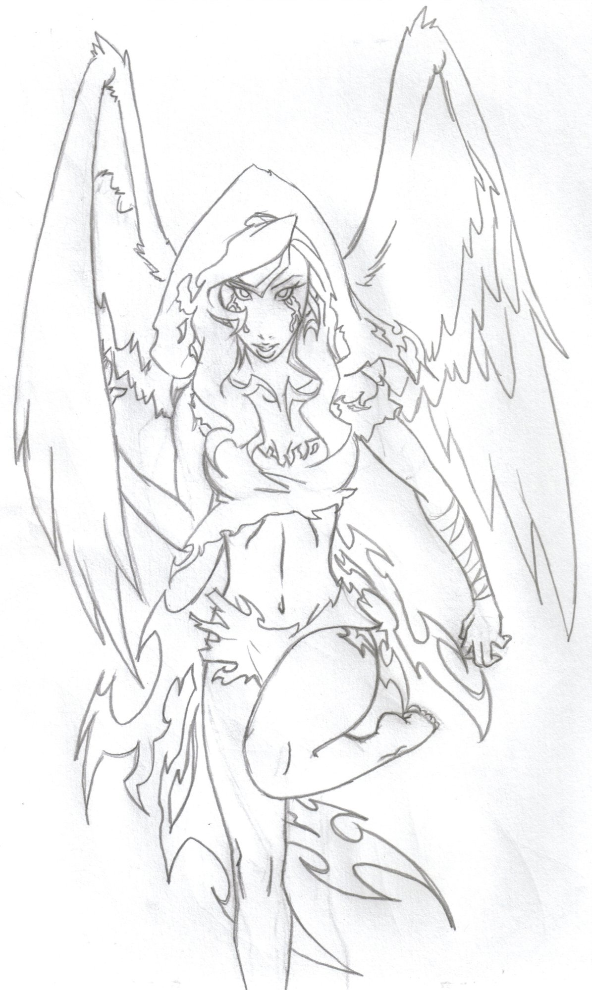 Gothic Angels Colouring Pages
