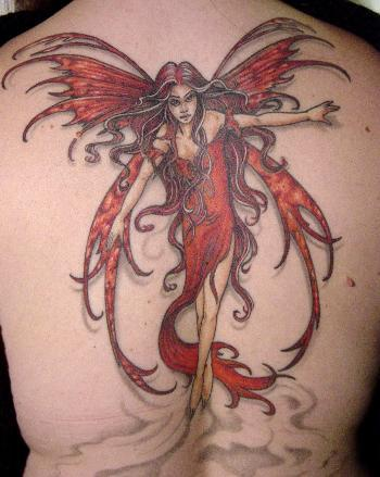 Red Ink Gothic Fairy Tattoo On Back