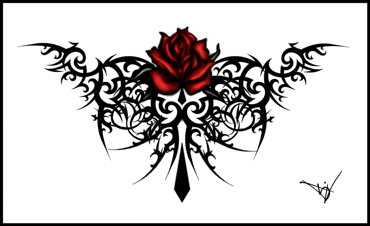 Red Rose And Tribal Gothic Tattoo Design