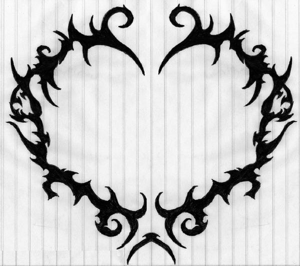 tribal black ink gothic heart tattoo design. Black Bedroom Furniture Sets. Home Design Ideas