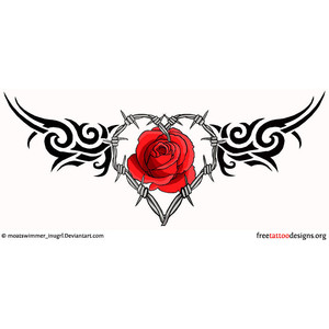 tribal gothic heart and rose tattoo design. Black Bedroom Furniture Sets. Home Design Ideas