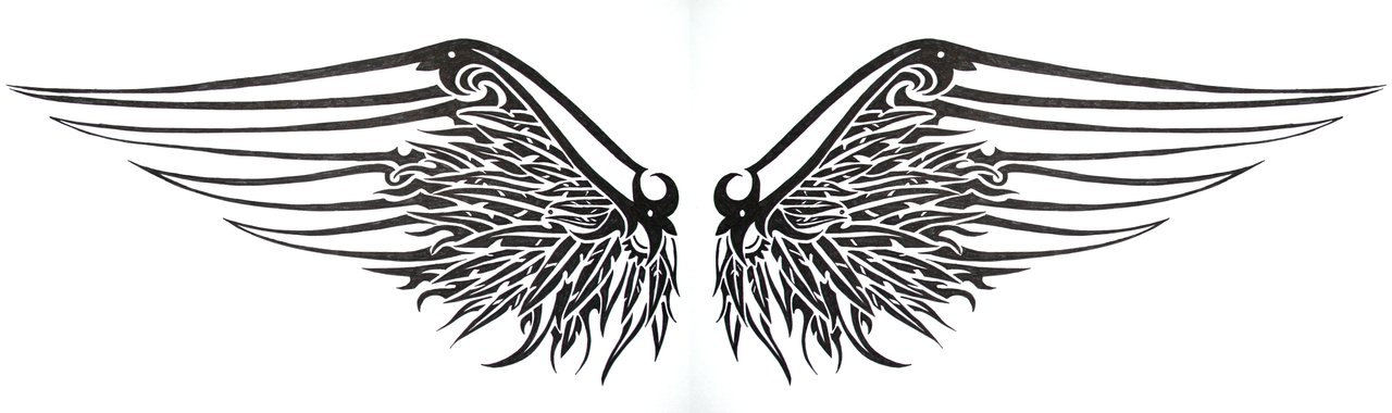 tribal gothic winged tattoos design. Black Bedroom Furniture Sets. Home Design Ideas