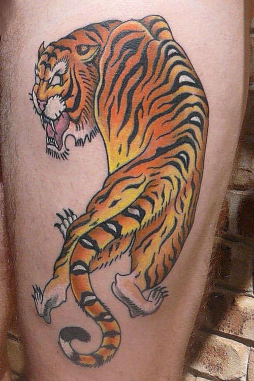 Amazing Color Tiger Tattoo On Leg