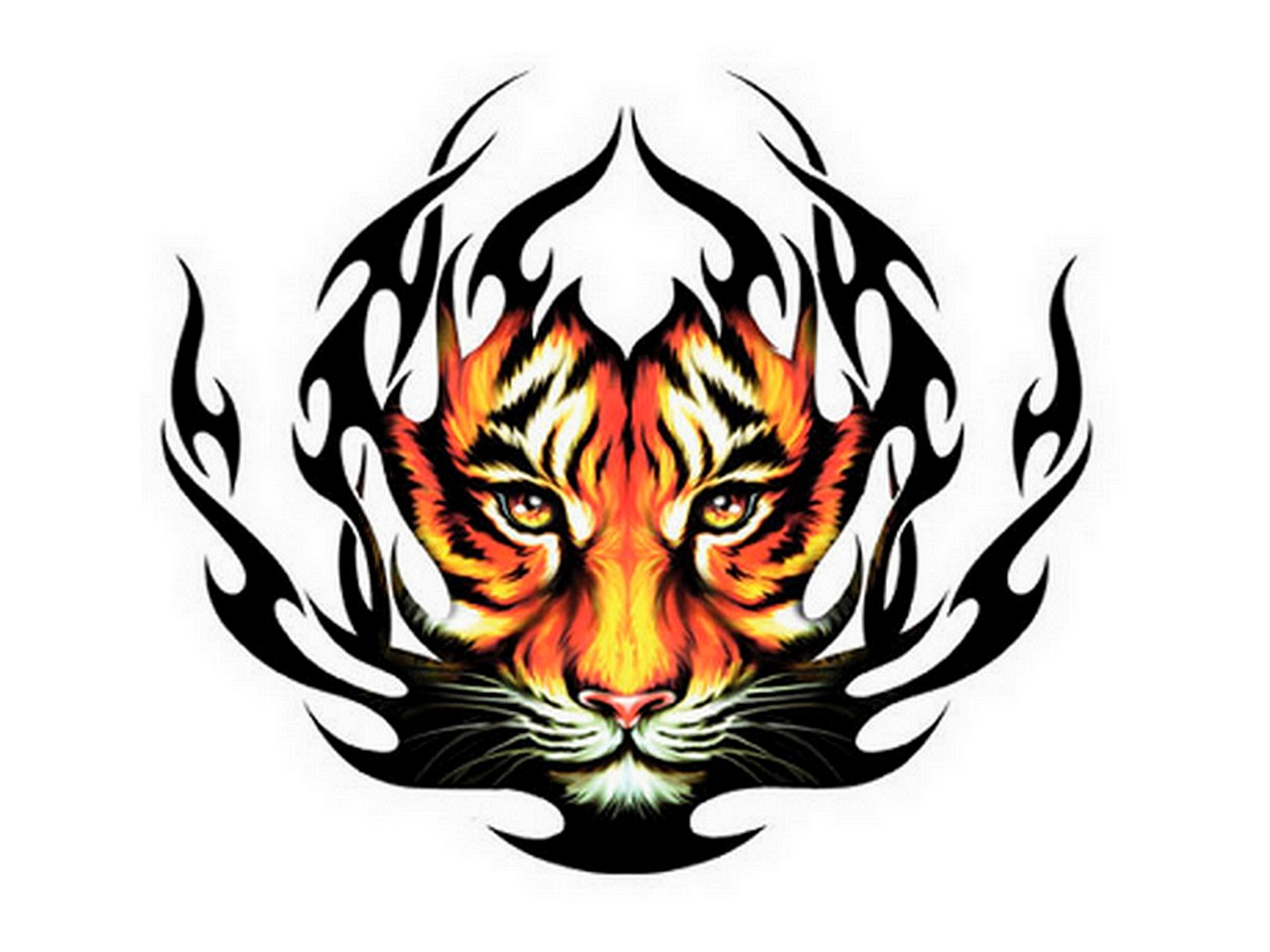 amazing tribal tiger head tattoo design