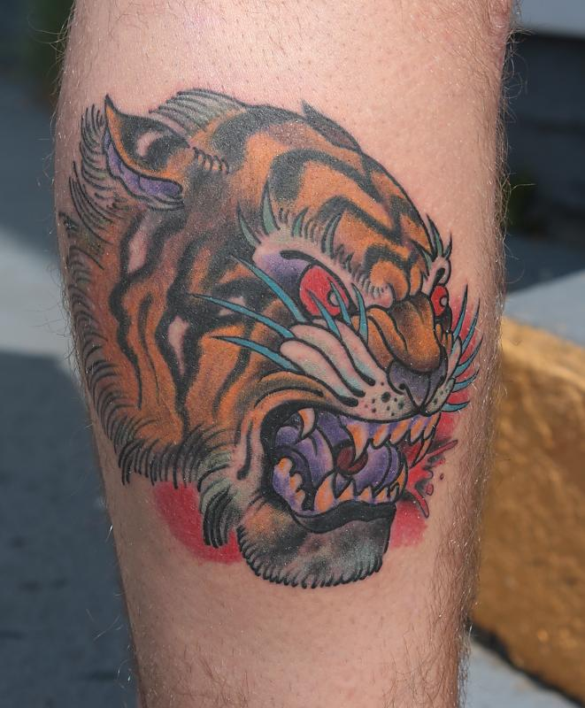 Angry Tiger Head Tatto...