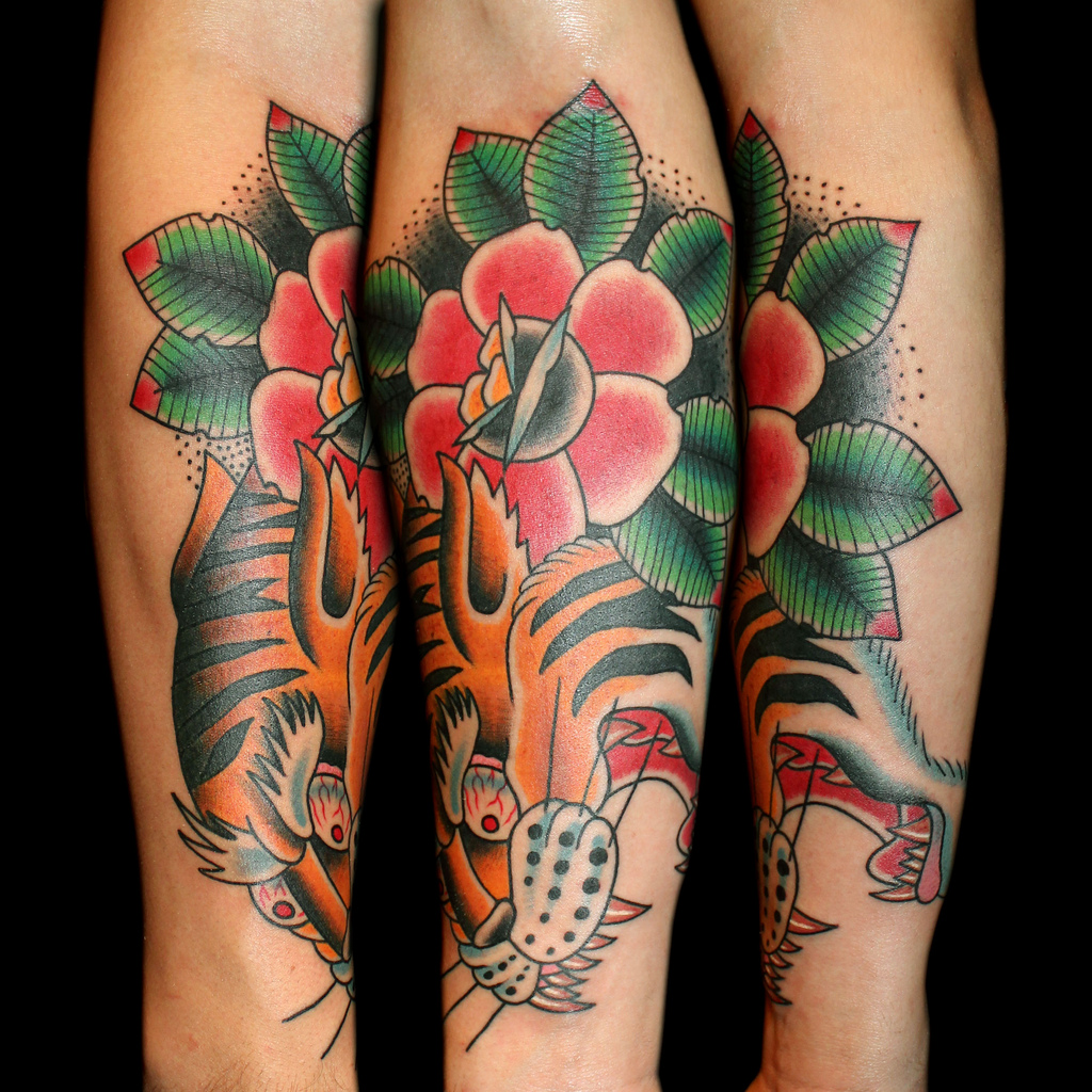 Awesome lotus flower and tiger tattoo on right thigh awesome color flower and tiger head tattoo on sleeve izmirmasajfo